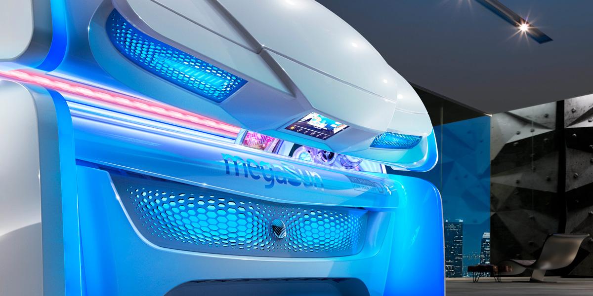 Aparat de bronzat Megasun seria Alpha 7000 hybridsun detalii